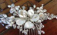 Beautiful bridal crystal hair comb made with Swarovski crystals and rhinestone vines - I add freshwater pearls and a Keishi pearl flower. Looks