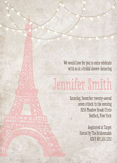The Paris bridal themed shower invitation with customizable colors.