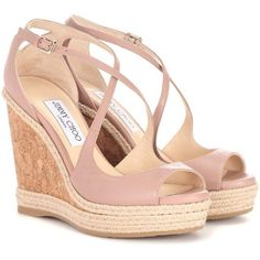Jimmy Choo Dakota 120 Leather Wedge Sandals (305.580 CLP) ❤ liked on Polyvore featuring shoes, sandals, heels, wedges, chaussures, high-heel, pink, leather heeled sandals, wedge shoes and leather high heel sandals