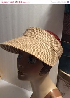 c0c200ba4a2 Vintage Straw Sun Visor Hat