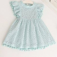 POM POM LACE DRESS BLUE