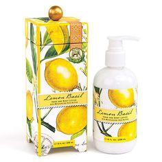 Lemon Basil lotion,by Michel Design Works. Packaged in a keepsake gift box…