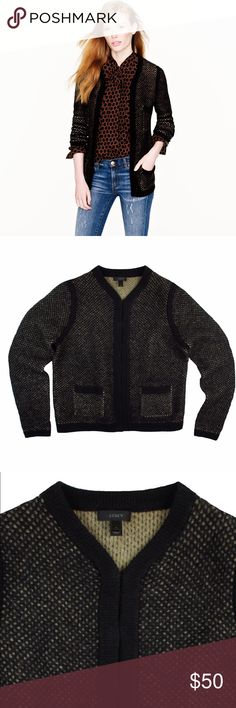 "JCREW Black &Camel Honeycomb Wool Cardigan Sweater Excellent condition! This black and camel honeycomb Cardigan from JCREW features a thick honeycomb wool knit, hidden hook and bar closures and front pockets. Made of a wool blend. Measures: bust: 42"", total length: 23"", sleeves: 25"" J. Crew Sweaters Cardigans"