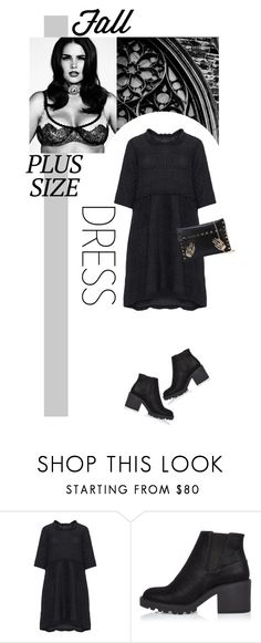 """""""Fall Look: Plus Size Dresses"""" by hajni0103 ❤ liked on Polyvore featuring GRIZAS, River Island, Fall, dress, hat and plussize"""