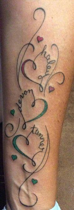 Kids names w/❤ tattoo …