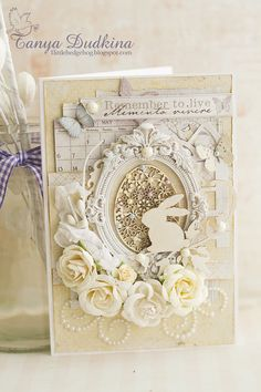 "Beautiful cream on cream framed Easter Egg and Bunny Rabbit floral card. Monotone with a hint of pastels and pearls. Этап №3 Финал СП ""Весенние открытки""  Final Stage №3 JV ""Spring Cards""   #Easter #SpringCraft #EasterCard"