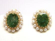 14K Gold Green Jade Pearl Earrings ca. 1950s from St. John & Myers Jewelry www.stjohnandmyers.com