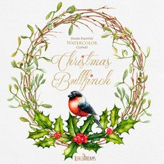 This set of 7 high quality hand painted watercolor wreath, bouquets and individual elements( Bullfinch, Poinsettia, Mistletoe) Perfect graphic for