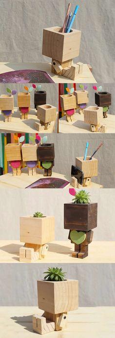 Bamboo Wooden Robot Transformers Pen Pencil Holder Stand iPhone iPad Smart Phone Holder Dock Business Card Display Stand Holder Succulent Planter Flower Pot Office Desk Supplies Stationary Organizer