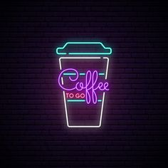 Coffee to go neon sign. Neon Wallpaper, Aesthetic Iphone Wallpaper, Aesthetic Wallpapers, Neon Quotes, Neon Words, Neon Logo, Neon Painting, Neon Design, Iphone Design