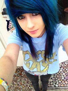 Emo blue hair