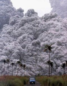 Must go faster!  Volcanic pyroclastic flow, a fast-moving current of superheated gas (which can reach temperatures of about 1,000 °C (1,830 °F)) and rock (collectively known as tephra), which reaches speeds moving away from a volcano of up to 700 km/h (450 mph).