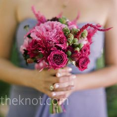 For something bright to stand out against their dresses, the bridesmaids carried pink bouquets of flowers like garden roses, spray roses and geraniums.