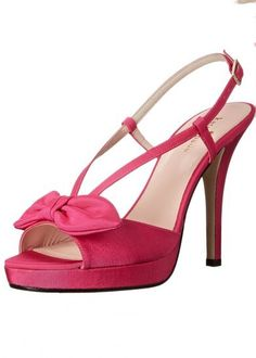 Kate Spade New York 'Rezza' Hot Pink Slingback Sandal. Stiletto Heels with Platform Soles.  Bow Feature, Vintage Inspired.