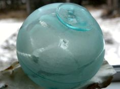 Japanese Caribbean Aqua Glass Fishing Float from by GlassLynx