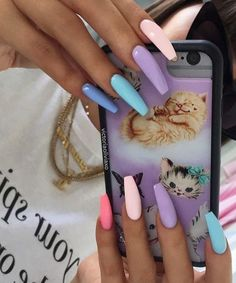 40 Pretty Multicolored Nail Art Designs For Spring and Summer 2019 rainbow nails colorful nail art design French manicure Multicolored Nail Art Designs Solid Color Nails, Nail Colors, Multicolored Nails, Colorful Nail Art, Aycrlic Nails, Gradient Nails, Matte Nails, Galaxy Nails, Sparkle Nails