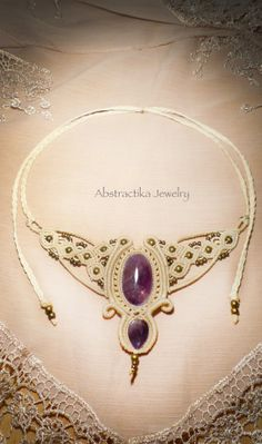 Macrame necklace with amethyst gemstone. Earthy necklace.  Wedding necklace. Goddess necklace. Princess necklace, victorian