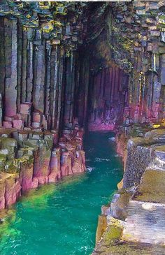 Columnar basalt on iceland coast