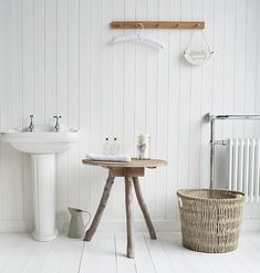 White and grey bathroom with grey driftwood bathroom furniture and accessories for a coastal beach house bathroom Simple Furniture, Coastal Furniture, White Furniture, Furniture Styles, Coastal Interior, Hallway Furniture, Bathroom Furniture, Bathroom Cabinets, Beach House Bathroom