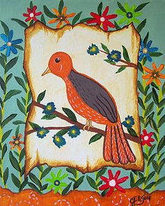 """Original Painting by  Modern Folk Artist Julie Ellison  Second Painting in the  """"Birds of a Feather Series"""""""
