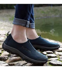 Men's #navy shoe #sneakers outdoor casual design, fashion label, Slip on style, nti collision toe, Shock absorption, casual, outdoor occasions.