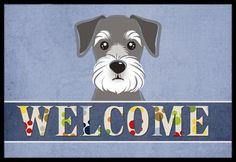 Caroline's Treasures Schnauzer Welcome Mat Schnauzer Art, Miniature Schnauzer, American Foxhound, Pembroke Welsh Corgi Puppies, Welcome Mats, Cocker Spaniel, Dalmatian, Boston Terrier, Labrador