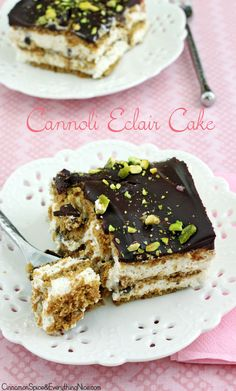 No Bake Cannoli Eclair Cake << so the recipe says. I should come up with a better name as this is nothing like either Cannoli or Eclair. Nonetheless the concoction looks really good. 13 Desserts, Delicious Desserts, Icebox Desserts, Baking Recipes, Cake Recipes, Dessert Recipes, Cupcakes, Cupcake Cakes, Yummy Treats