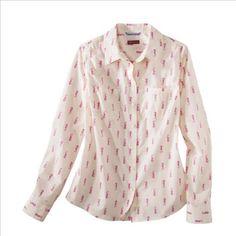 Pink Seahorse Button Up Blouse / Target / My new favorite shirt!  maileleiweddings.com
