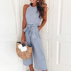 add00745711c LOSSKY Women Striped jumpsuits Sexy Sleeveless Casual Sashes Rompers Back  With Zipper Belt Wide Leg Pants Playsuits Overalls2018