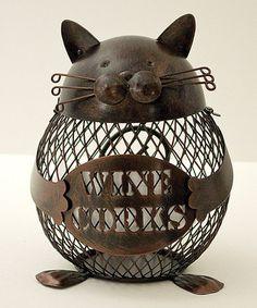Look at this #zulilyfind! Cat Cork Cage by Boston Warehouse #zulilyfinds. He's so cuteee!