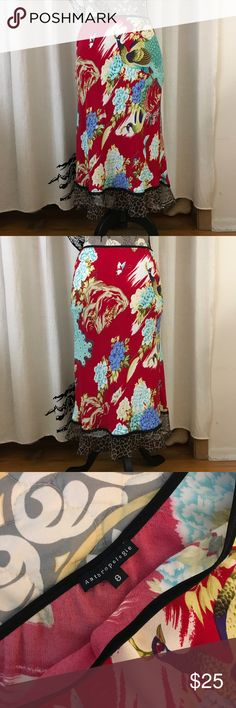 "Funky ""Vintage"" Anthropologie Skirt SZ 6/8 Fun and funky ""vintage"" Anthropologie skirt in red, blues and white with animal print hem. Soft and stretchy with elastic waist. Gently loved, excellent condition with no flaws. Please see measurements in photos. Anthropologie Skirts Midi"