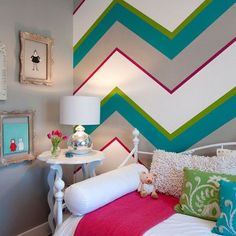 Teen girl room design ideas: Don't choose a bed that's too large to your space. A small room having a king bed will be too cramped. In addition, it limit the amount of room you may have for other furniture without cluttering your space. Chevron Wall, Painting Stripes On Walls, Bedroom Design, Striped Walls, Girls Bedroom, Little Girl Rooms, Bedroom Decor, Girl Room, Home Decor