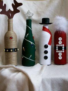 Christmas decor wine bottles