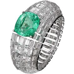 """CARTIER. """"Clarté"""" Bracelet - white gold, one 66.09-carat cushion-shaped step-cut emerald from Colombia, rock crystal, onyx, brilliant-cut diamonds"""