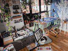 Art studio Brooklyn artist studio inspiration atellier - All About Decoration Home Art Studios, Studios D'art, Art Studio At Home, Design Studios, Appartement Design Studio, Studio Apartment Design, Art Studio Design, Art Studio Decor, Studio Spaces