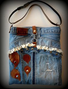 Pachwork Denim Recycle Bag with Leather Hearts Cotton by LaraKlass, $85.00