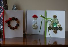 Button cards--easy enough for kids but cute enough to keep! (From @Mandi {Life...Your Way}'s 101 Days of Christmas!}