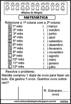 Atividades de matemática séries iniciais de alfabetização Math For Kids, Printable Coloring Pages, Teaching Kids, Professor, Back To School, Classroom, Math Equations, Activities, Gabriel