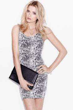 Black and white snakeskin dress