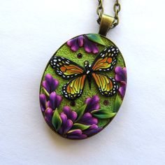 Monarch Butterfly Garden Necklace, Polymer Clay, Whimsical Handmade Jewelry by Claybykim on Etsy