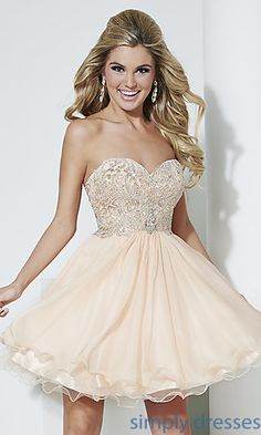 Short Strapless Babydoll Dress by Hannah S at SimplyDresses.com