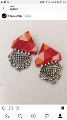 Thread Jewellery, Textile Jewelry, Fabric Jewelry, Fabric Earrings, Diy Earrings, Earrings Handmade, Handcrafted Jewelry, Terracotta Jewellery, Stud Earrings