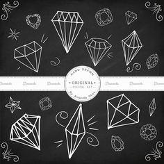 Premium Hand Drawn Diamond Clip Art, Diamond Vectors - Red Diamonds, Diamonds Clip Art, Diamonds Clipart, Gem Clipart, Gemstones Clip Art