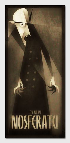 Nice way to evoke the noir lines and shadows of the film in illustration | Nosferatu! | Classic Monsters by Szoki , via Behance