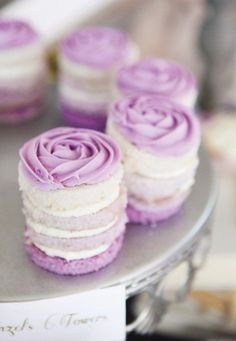 Purple stacked cupcakes with flower frosting - purple mini stacked cakes