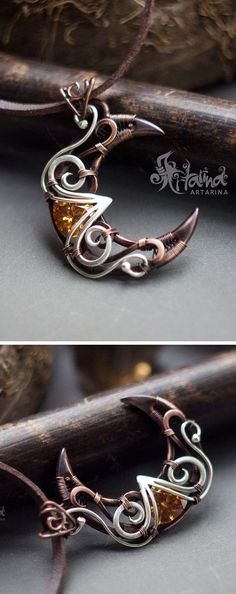 Copper and silver #wire #wrapped #crescent #moon pendant with honey yellow cz.
