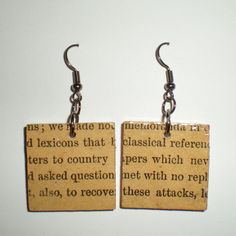 Square Recycled Book Page Earrings (seriously love these - cant be TOO hard to make!)