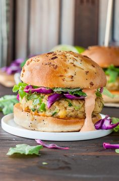 Spicy Chickpea Veggie Burgers with Jalapeño and Zucchini topped with a tasty honey-lime slaw and fiery Sriracha mayo! --Vegan + GF options too!--
