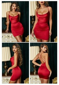 Satin Dresses, Sexy Dresses, Short Dresses, Sexy Summer Dresses, Sexy Party Dress, Fancy Dress, Backless Homecoming Dresses, Look Fashion, Fashion Outfits