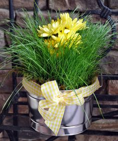 Perfect for Easter, the grass is planted, the Mums were added using water picks.